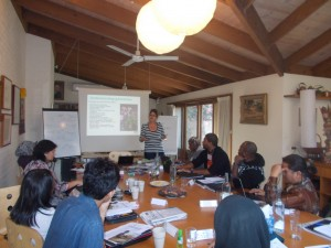 Oxfam Australia Mining Advocacy Leader Serena Lillywhite giving a presentation on the organization's Mining Program to APJC participants in Melbourne, Aus.