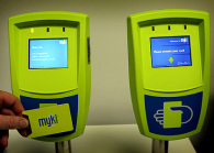 Myki travel card scanners.