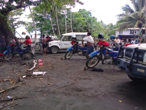 Team Simbu bikers at Sipaya beach, Morobe Province