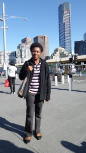 Shirley during tour around Melbourne city first day after arrival for 2015 fellowship